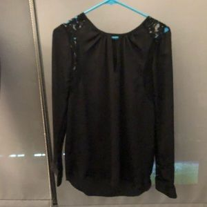 Black Blouse with Lace Insert